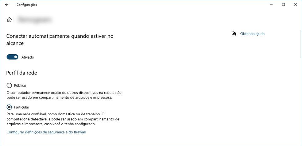 Configuração do perfil de rede no Windows. — Foto: Reprodução