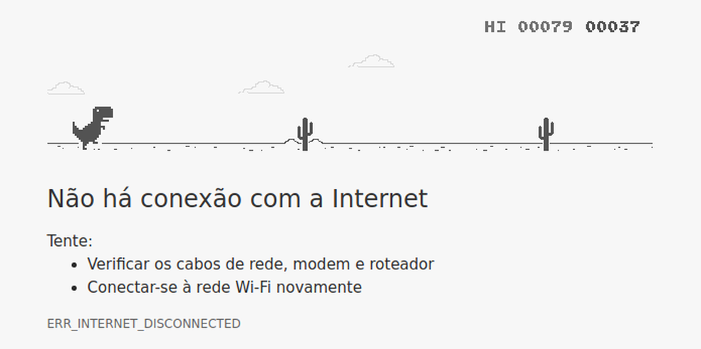 Sem Internet? Divirta-se com o T-Rex do Google Chrome (Foto: Edivaldo Brito/TechTudo)