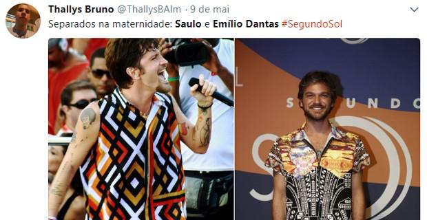 Emílio Dantas e Saulo Fernandes são comparados após estreia de 'Segundo Sol' (Foto: Reprodução/Twitter)
