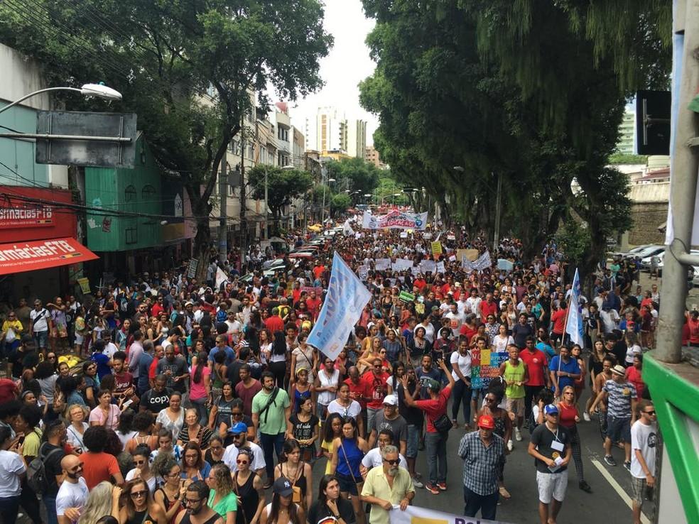 Manifestação é realizada no Centro de Salvador â?? Foto: Maiana Belo/G1 Bahia
