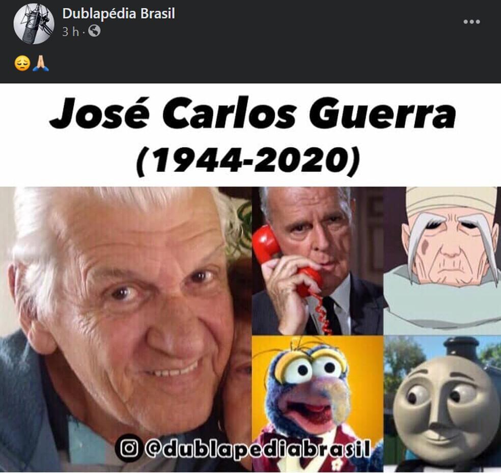 Post da página Dublapédia sobre a morte de José Carlos Guerra — Foto: Reprodução