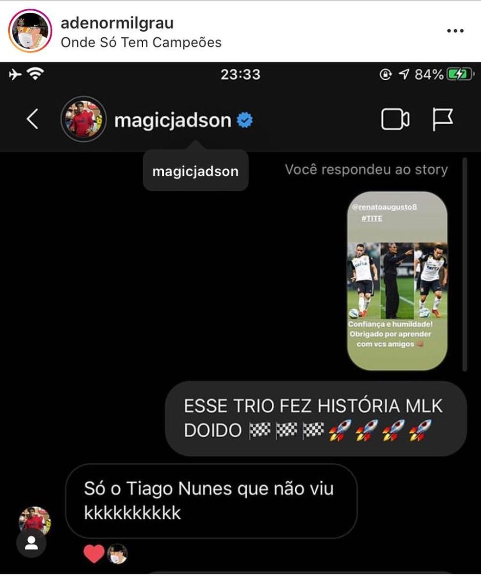 Jadson alfinetou Tiago Nunes em resposta a torcedor no Instagram — Foto: Reprodução