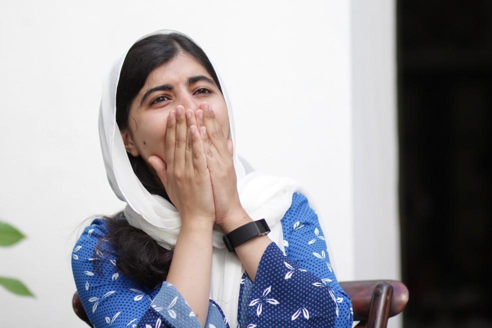 Malala Yousafzai concede entrevista em Salvador (Foto: Egi Santana / G1)