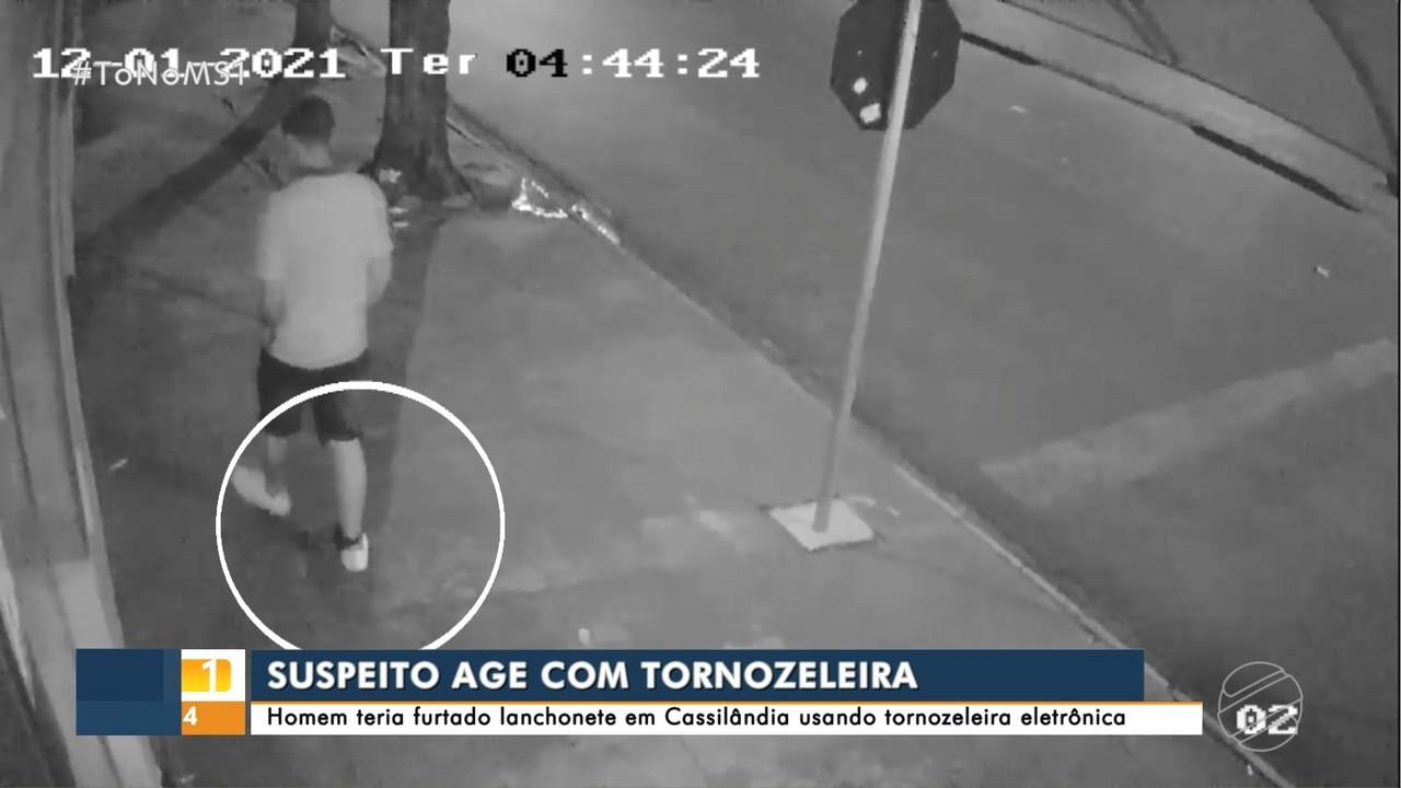 Câmera flagra homem com tornozeleira eletrônica furtando lanchonete em Cassilândia