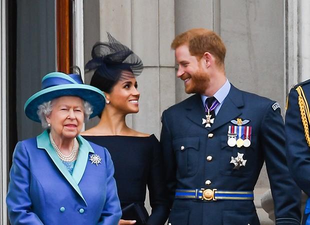 Rainha Elizabeth II, Meghan Markle e príncipe Harry (Foto: Getty Images)