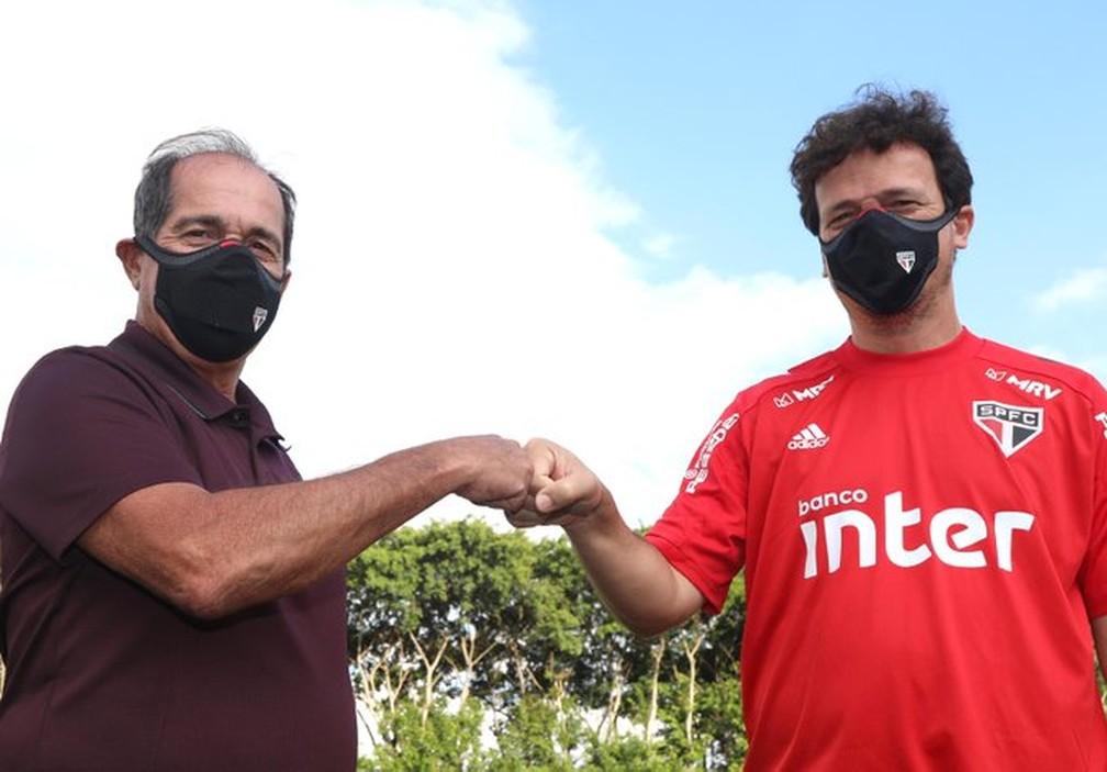 Muricy Ramalho e Fernando Diniz, no São Paulo — Foto: Divulgação São Paulo