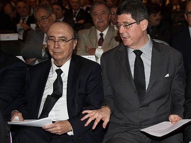 Henrique Meirelles, ex-presidente do Banco Centra, e Joaquim Levy, ministro da Fazenda (Foto: Ed Ferreira / Brazil Photo Press / Estadão Conteúdo)