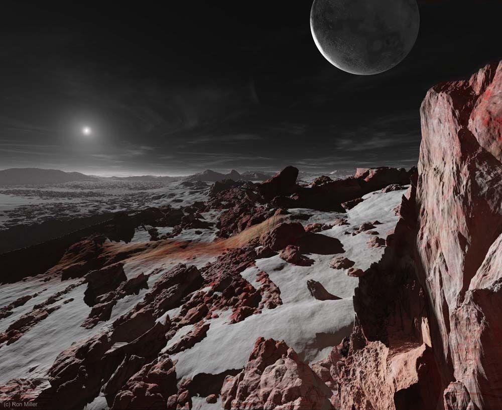 O Sol e Caronte vistos a partir da superfície de Plutão, a uma distância média de 5,91 bilhões de quilômetros do Sol. Ele pode ter sido rebaixado, mas nos nossos corações Plutão será sempre o nono planeta do Sistema Solar <3 (Foto: Ron Miller | Divulgação)