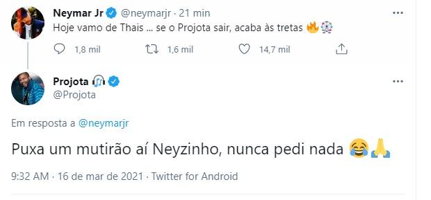 Neymar revela torcida por Projota e equipe do rapper pede mutirão (Foto: Reprodução/Twitter)
