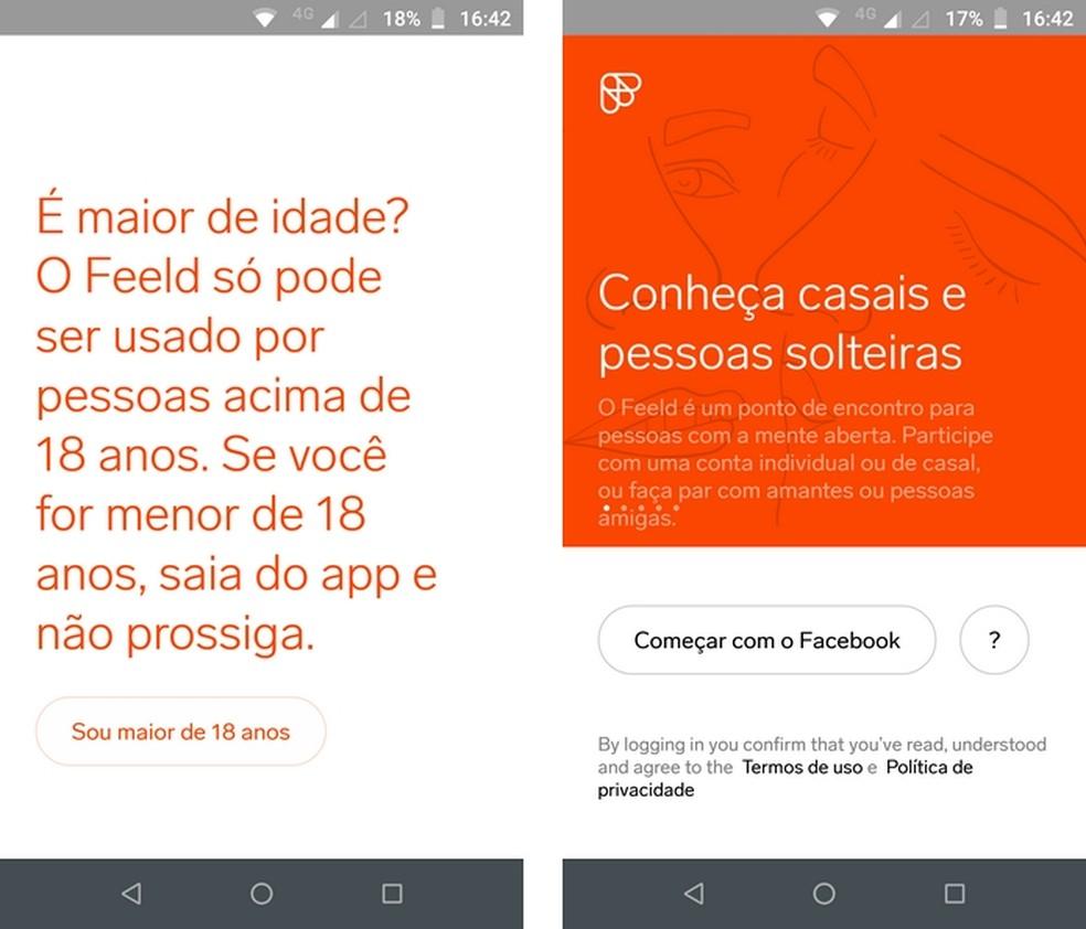 Feeld, disponível para Android e iPhone, usa credenciais do Facebook para login — Foto: Reprodução/Raquel Freire