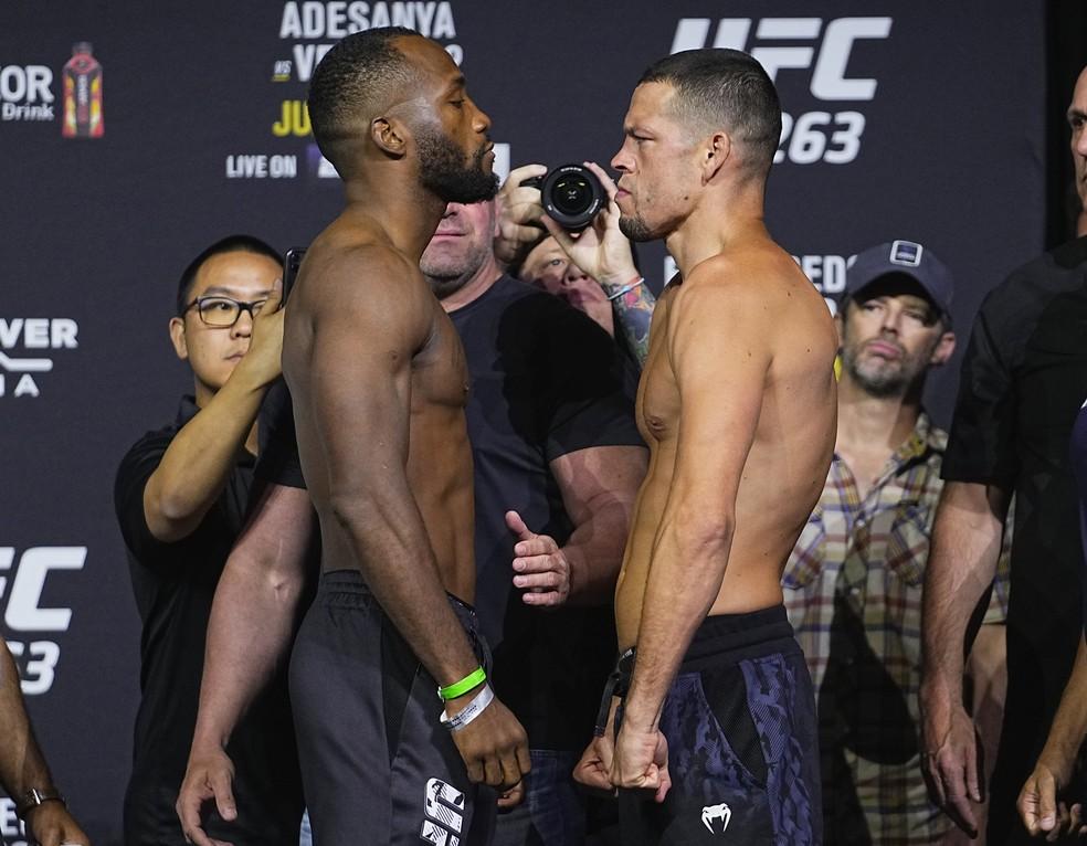 Leon Edwards e Nate Diaz farão uma luta de cinco rounds — Foto: Jeff Bottari/Getty Images