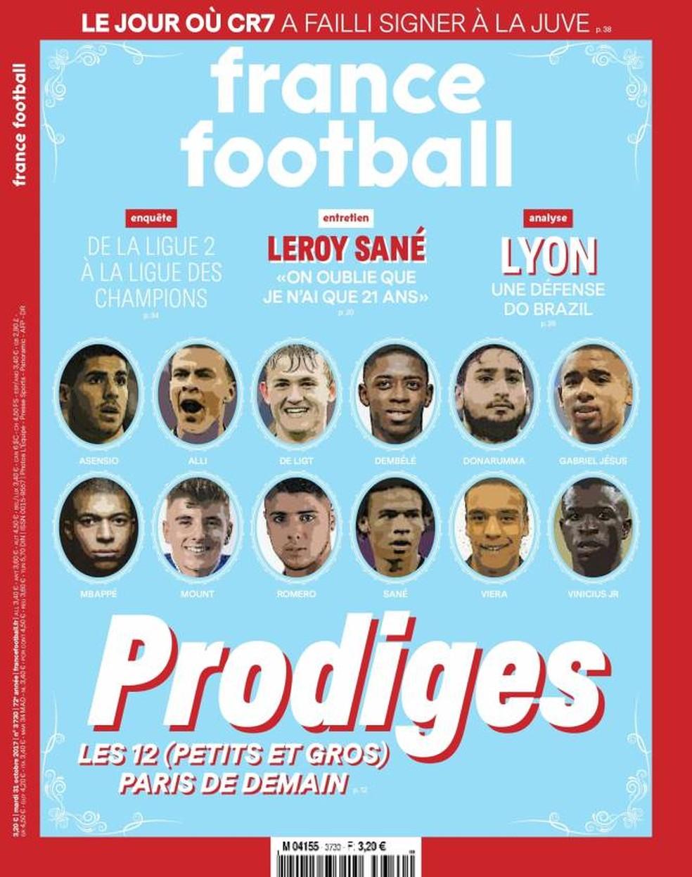 Capa da France Football com Gabriel Jesus e Vinicius Júnior entre 12 prodígios do futebol (Foto: Reprodução)