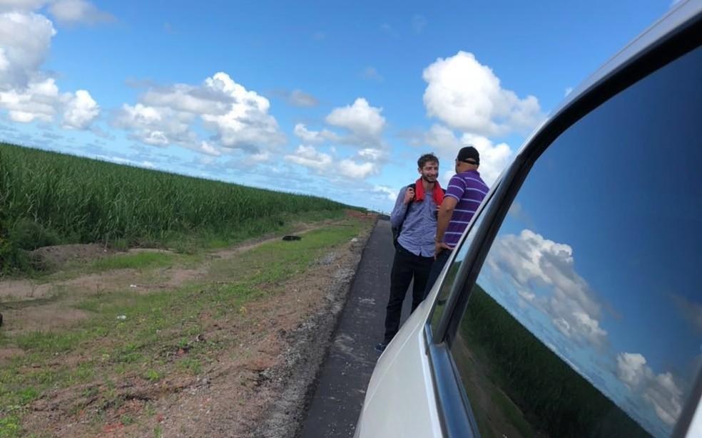 Estudante foi localizado na BR-101, em Alagoas (Foto: Reprodução/WhatsApp)