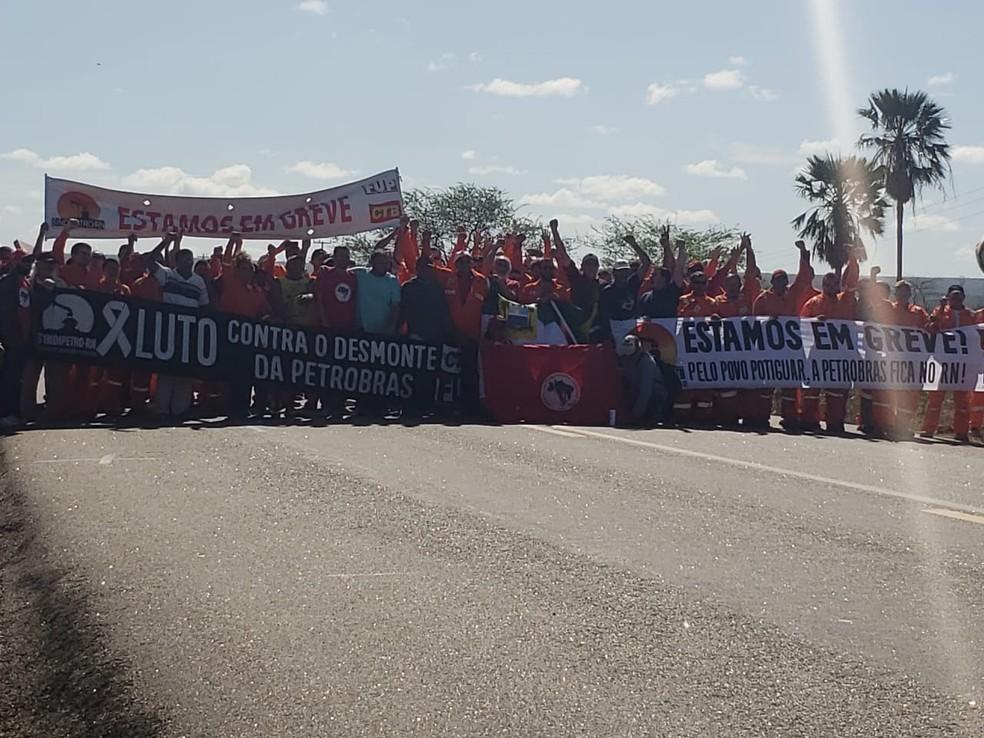 Manifestação de petroleiros no RN — Foto: PRF/Divulgação