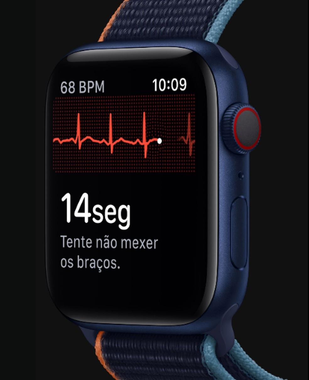 Estudo mostra que medição de batimentos cardíacos se normaliza em até duas semanas após detecção da doença — Foto: Divulgação/Apple