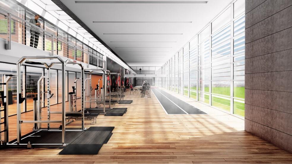 Academia terá mais de 700 metros quadrados, com visão para o campo (Foto: Divulgação Flamengo)