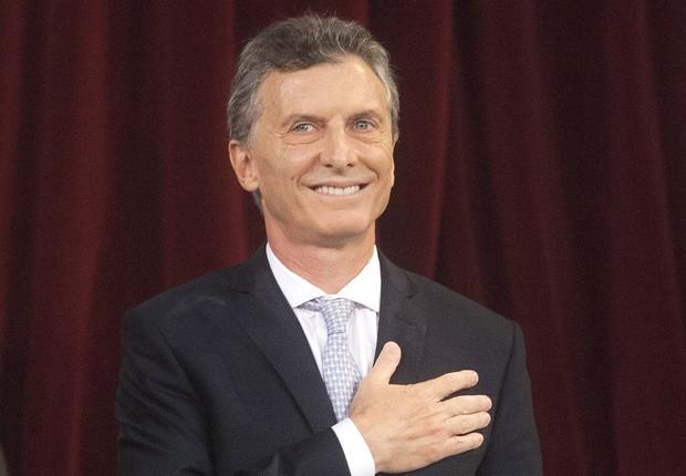 Mauricio Macri , candidato do partido Cambiemos, faz juramento no Congresso para assumir o posto de novo presidente da Argentina (Foto: Juan Ignacio/EFE)