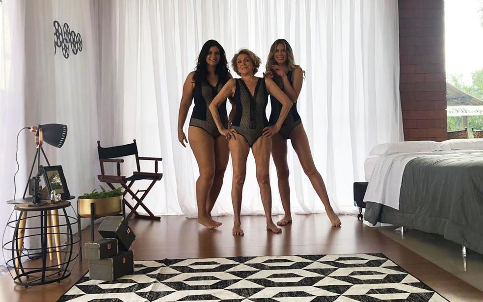 Helena Schargel (ao centro) criou linha de lingerie — Foto: Recco/Divulgação