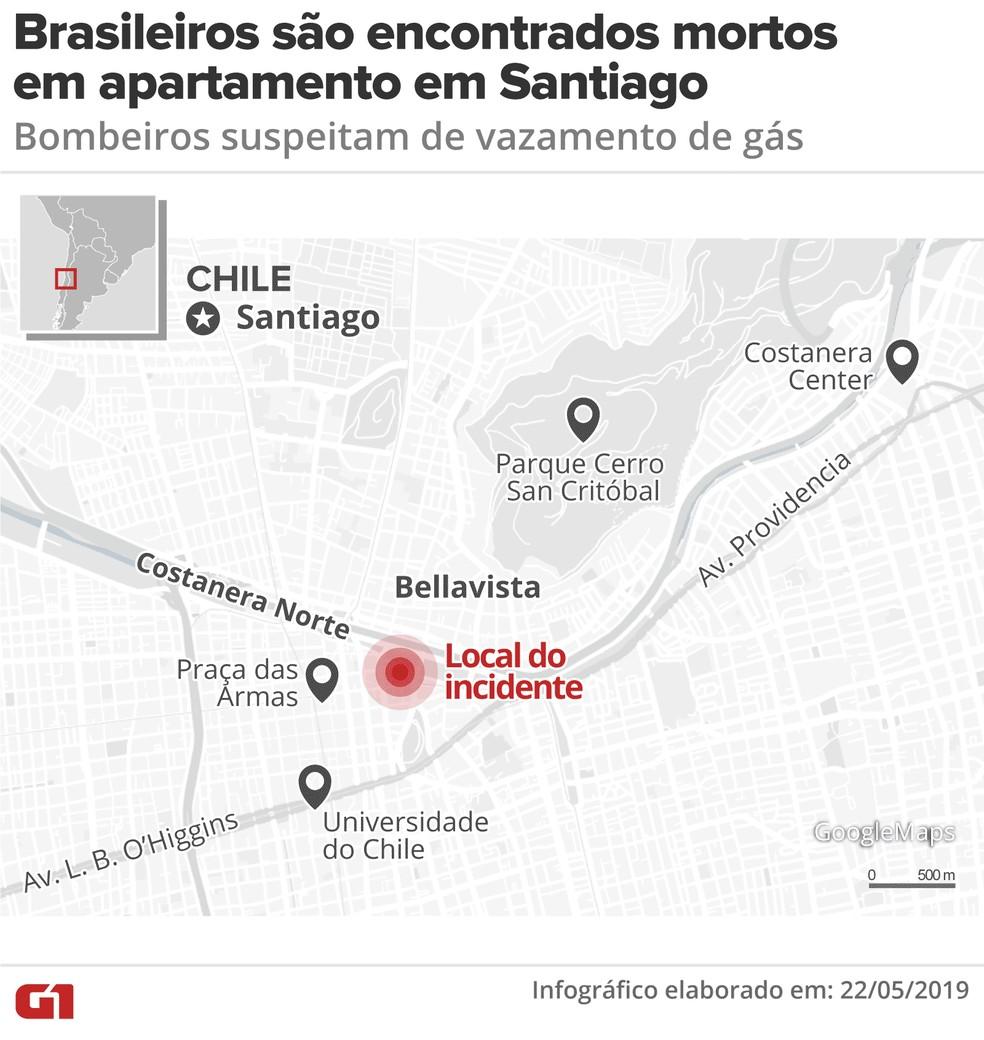 Localização de prédio em Santiago onde brasileiros foram encontrados mortos — Foto: Guilherme Luiz Pinheiro/G1