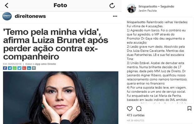 Post de Lírio Parisotto no Instagram (Foto: Reprodução/Instagram)