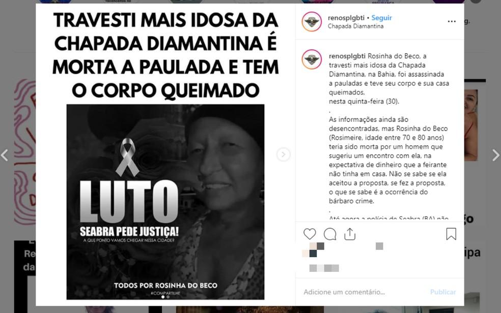 Travesti é encontrada morta dentro de casa incendiada na região da Chapada Diamantina — Foto: Reprodução/Redes Sociais