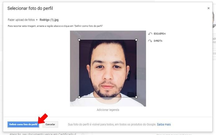 Edite a nova foto de perfil do Gmail (Foto: Reprodução/Rodrigo Fernandes)
