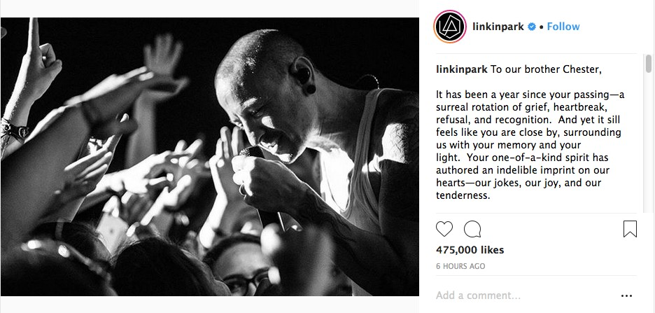 O post dos músicos do Linkin Park em homenagem a Chester Bennington (1976-2017) (Foto: Instagram)