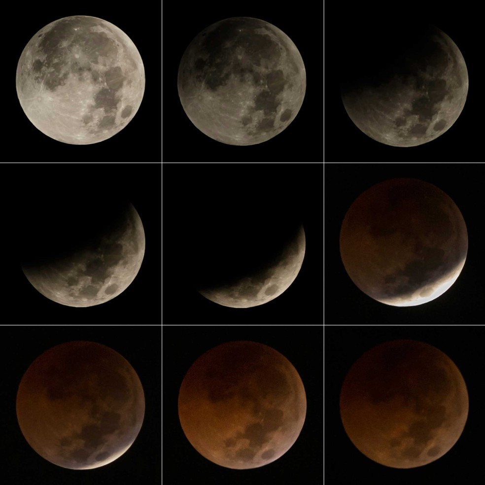 Todas as etapas do eclipse lunar visto nesta sexta-feira (27) (Foto: Bay Iismoyo/AFP)