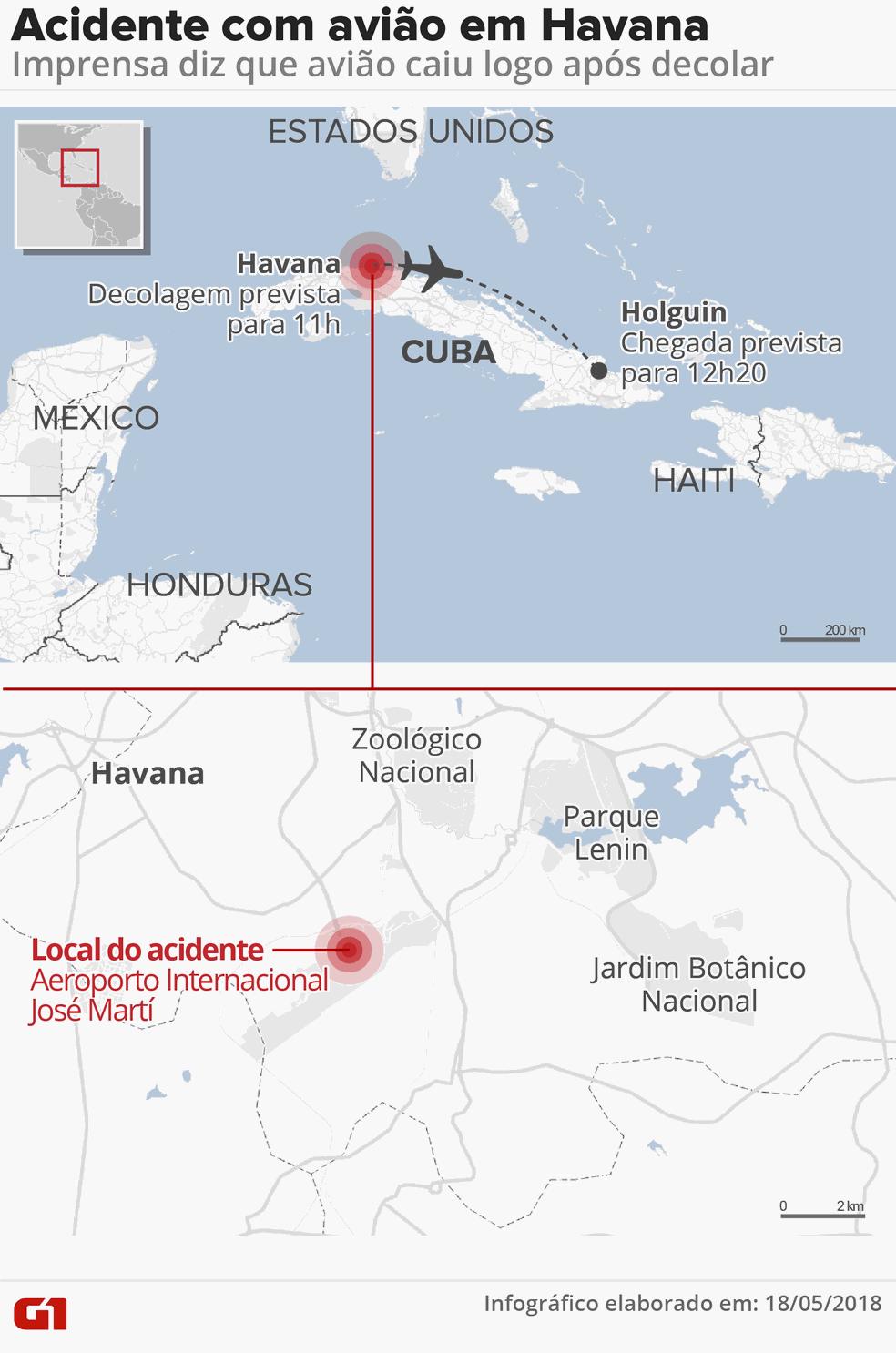 Avião caiu logo após decolar de Havana (Foto: Infografia: Roberta Jaworski/G1)