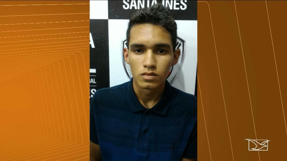Carlos Vinicius Bahia que também é foragido da polícia de Santa Inês, foi preso em São Luís. (Foto: Reprodução/TV Mirante)