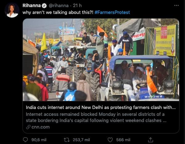 O tuíte da cantora Rihanna sobre os protetos de agricultores na Índia que irritou o governo local (Foto: Twitter)