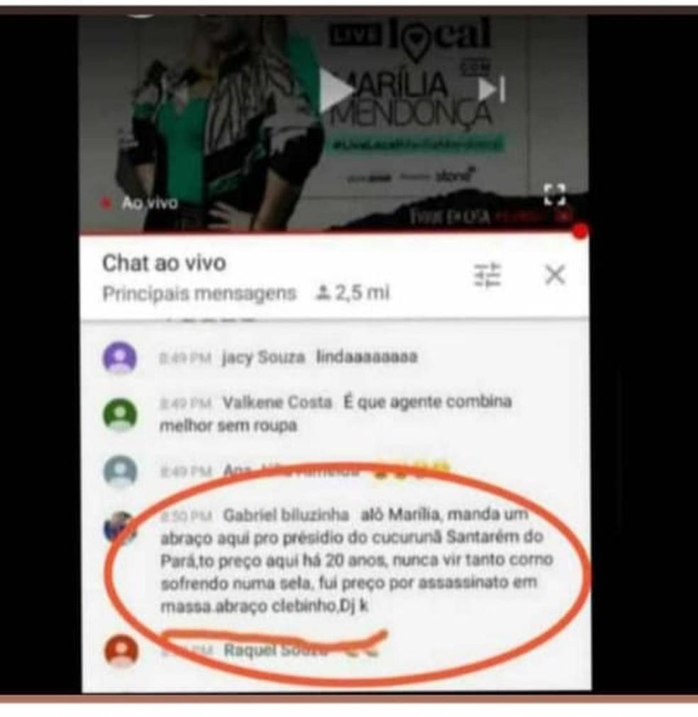 Comentário de detento do presídio de Santarém é flagrado em live de cantora sertaneja — Foto: Redes Sociais/Reprodução