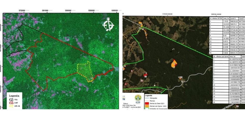 Mapas com a área total da FEA (esq.) e local de desmatamento idetificado recentemente (dir.) — Foto: Reprodução