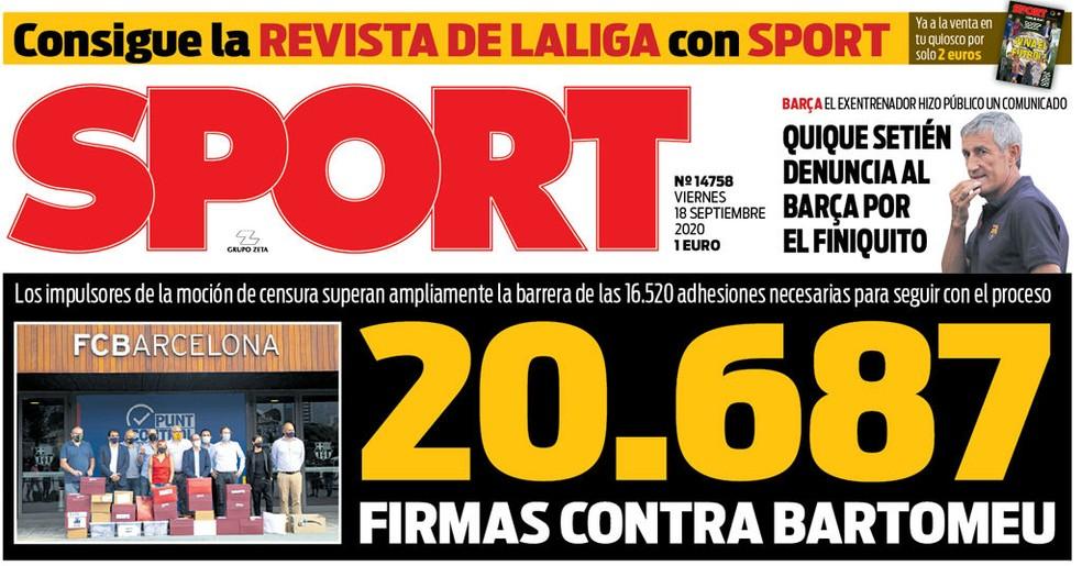 """Capa do jornal """"Sport"""" também destaca as 20.687 assinaturas colhidas, em número até o fechamento da edição — Foto: Reprodução/Sport"""