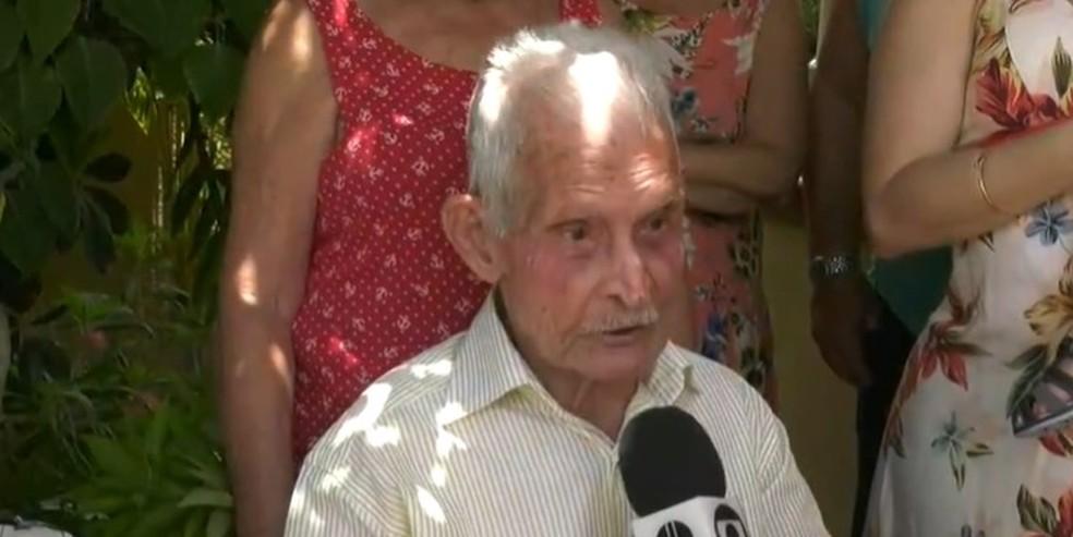 Seu Moacyr Dutra, de 97 anos, faleceu vítima da Covid-19, em Campos, no RJ — Foto: Reprodução/Inter TV RJ