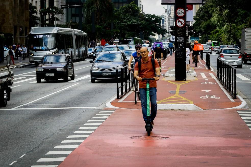 Prefeitura da cidade de São Paulo regulamentará uso de patinetes elétricos na cidade em até 45 dias — Foto: Aloisio Mauricio/Foto Arena/Estadão Conteúdo