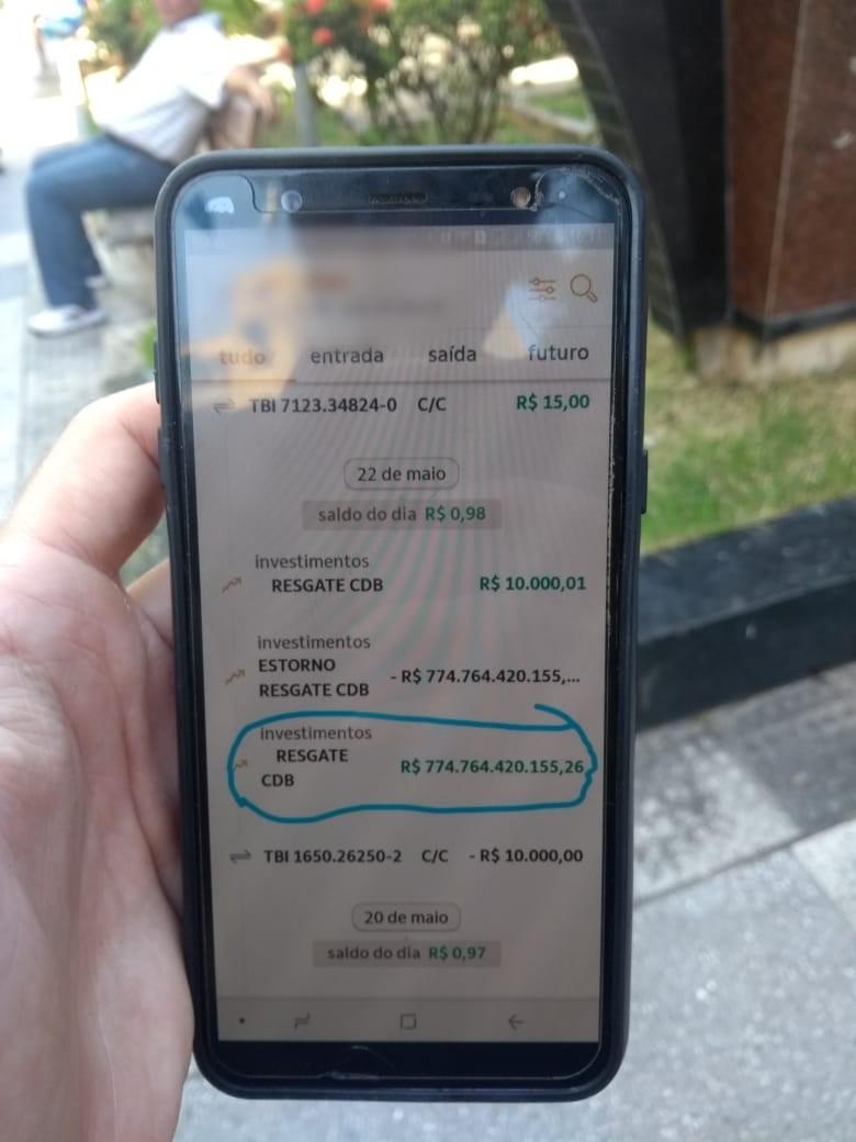 Banco erra e faz potiguar multibilionário por um dia; após estorno, sobraram R$ 0,98