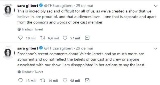 Posts de Sara Gilbert criticando Roseannne Barr (Foto: Reprodução/Twitter)