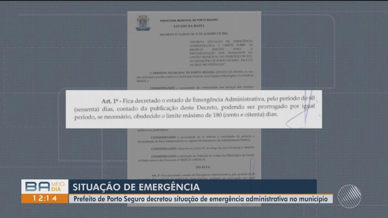 Prefeito de Porto Seguro decreta situação de emergência administrativa no município