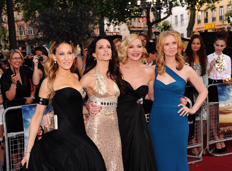 O elenco principal de Sex and the City, com Sarah Jessica Parker e Kim Cattrall (Foto: Getty Images)