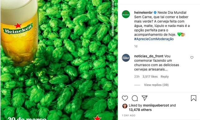 Postagem da Heineken no Instagram gera revolta de ruralistas