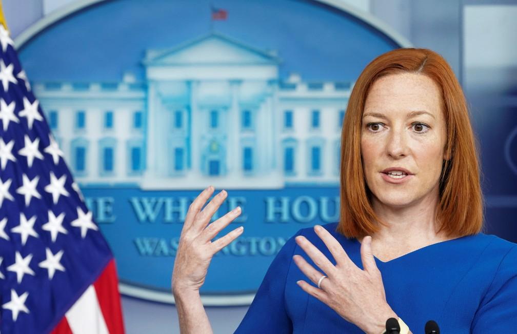 Secretária de imprensa da Casa Branca, Jen Psaki, em entrevista coletiva em 7 de abril de 2021 — Foto: Kevin Lamarque/Reuters