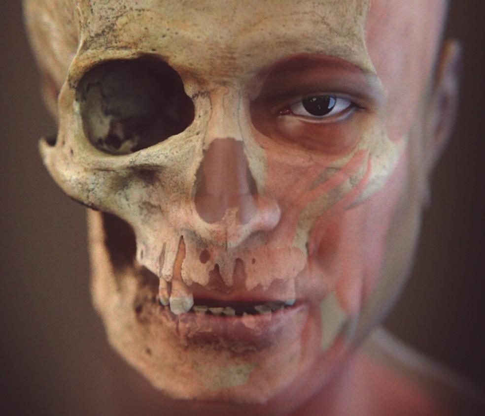Rosto de indígena foi feito com base em crânio achado no rio (Foto: Reprodução)