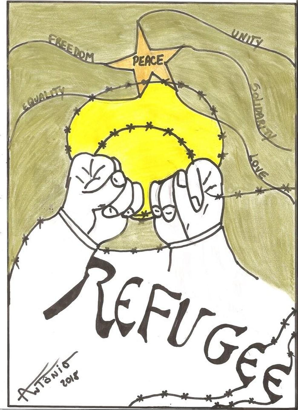 Desenho sobre refugiados de aluno de 9 anos de Mococa foi escolhido em concurso da ONU — Foto: Arquivo pessoal