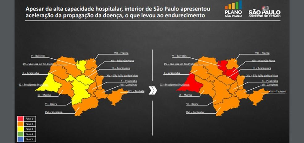 Novo mapa mostra evolução da situação das regiões no Plano São Paulo em 15 dias. — Foto: Reprodução/Governo do Estado de São Paulo