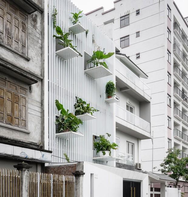 Painéis de alumínio abrigam pequenas varandas que comporam os vasos na fachada da casa em Hanói, no Vietnã (Foto: Quang Dam/DANstudio/Reprodução)
