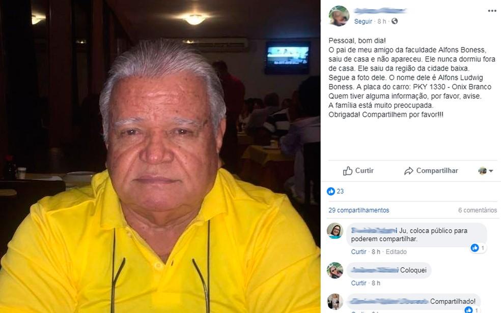 Idoso foi morto a facadas pela companheira dentro de motel (Foto: Reprodução/Facebook)