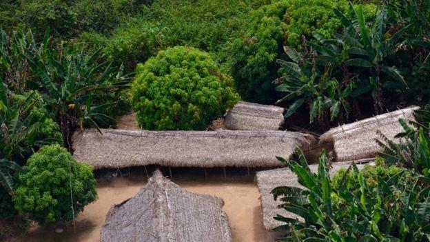 Uma das aldeias do povo Zo'é, etnia que vive exclusivamente de suas terras e mantém sua autonomia cultural e socioeconômica (Foto: via BBC News Brasil)