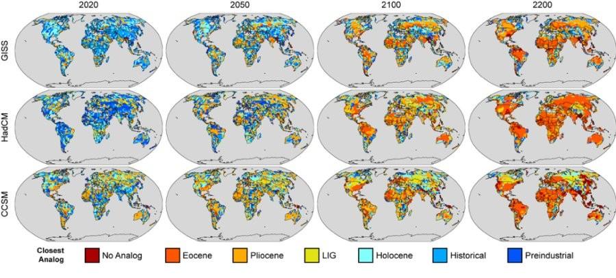 Futuros análogos climáticos para os anos 2020, 2050, 2100 e 2200 de acordo com três modelos bem estabelecidos. Se as emissões de gases de efeito estufa não forem reduzidas, diz o estudo, o clima continuará a se aquecer até que comece a se assemelhar ao Eoceno em 2100. (Foto: University of Wisconsin-Madison)