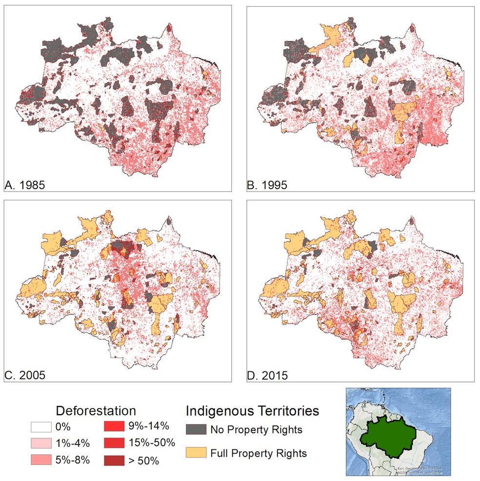 Imagem mostra territórios indígenas e índice de desmatamento na Amazônia em 1985, 1995, 2005 e 2015. — Foto: Kathryn Baragwanath/UC San Diego/PNAS